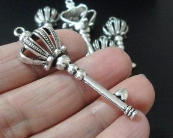 Key Pendant - Large Silver Key Charm Pendant - Skeleton Key Necklace Charm - 60mm - Metal Jewelry Supplies - Diy Valentines Findings -4 Keys