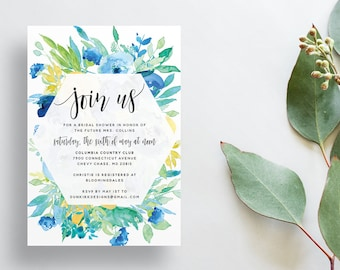 Watercolor Floral Shower Invites / Yellow Blue Green / Calligraphy / Semi-Custom Party Bridal Shower Invites / Printed Invitations