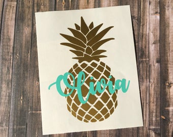 Pineapple Name Decal - Name Decal - Yeti Name Decal - Yeti Decal for Women - Laptop Decal - Water Bottle Decal - Car Window Decal -Pineapple
