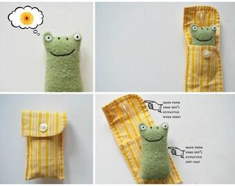 Green Frog Cuff Critter - Tiny Plushie - Stocking Stuffer - Tween Kid Gift - Plush - Upcycled - Pocket Travel Size - Mini Pet - Easter gift