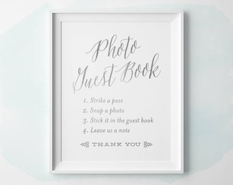 PRINTABLE Silver Wedding Signs, Photo Guestbook Sign, Silver Wedding Photo Guest Book Sign, Reception Instant Download 5x7 8x10 11x14 WS1SP