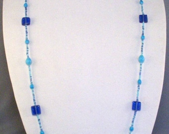 Long Rope Necklace // Two-Tone Blue // Glass Beads // Fits Over Head // Casual // Cobalt Blue // Light Blue