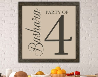 Kitchen Wall Art, Party of 4 or ?, Kitchen decor, White Kitchen decor, kitchen sign, Mothers Day Gift, custom canvas art, custom canvas