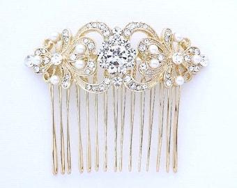 Gold Bridal Hair Comb, Gold Vintage Wedding Comb, Crystal Pearl Bridal Hair Piece, Rhinestone Gold Hair Clip, Gold Bridal Headpiece