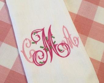 Heirloom Monogram Burp Cloth Embroidered Custom Baby