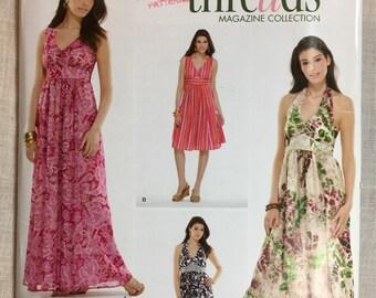 Simplicity 3803, Halter Dress, Threads Magazine, Pattern, Empire Waist, Summer Dress, Sizes 12-14-16-18-20, uncut