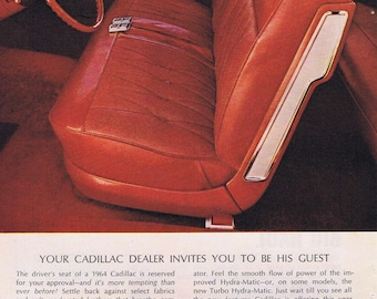 1964 Beautiful White Cadillac Convertible Automobile Original Vintage Ad Nice Interior Picture and Twilight Sentinel Comfort Control