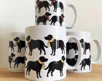 Dog lover gift, labrador ceramic mug.  Labrador coffee cup, coffee mug,  dog mug, funny dog mug, Black labrador gift. mom mug coaster set