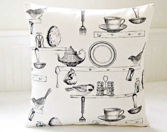 decorative pillow cover grey antique style kitchen teacup birds teapot, gray cushion cover 16 inch