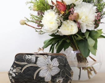 Black White and Gold Floral Clutch | Embroidered Tulle Lace | Mother of the Bride Gift