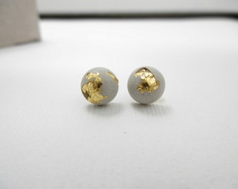 Cement stud earrings, concrete stud earrings, minimalist studs, gold and cement, cement jewelry, beton, modern studs, concrete jewelry