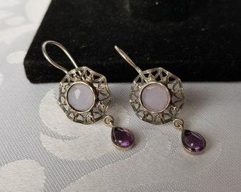 Amethyst Sterling Silver Earrings, Amethyst Earrings, Sterling Silver Earrings, Earrings,