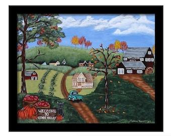 Folk Art Landscape Framed Print, 11x14, 16x20, Country Wall Art, Christmas Gift, Gifts For Mom, Folk Art, Gifts For Her