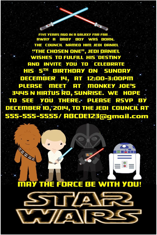 Favorito Star Wars invito festa di compleanno invito digitale 6 x LI36