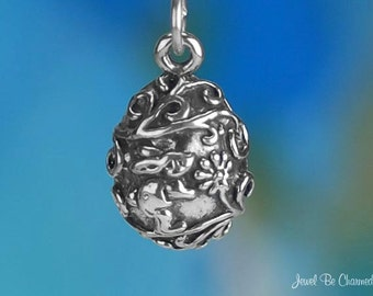 Sterling Silver Rabbit with Flowers Easter Egg Charm Bunny Solid .925