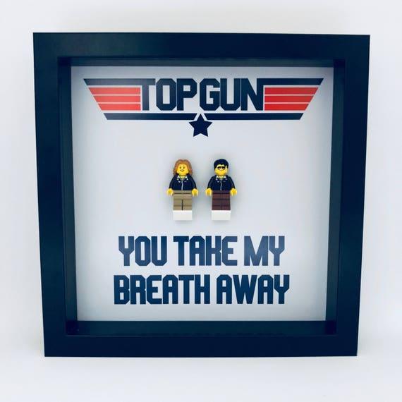 Top Gun Couple Minifigure Frame, Mum, Gift, Geek, Box Frame, Friends, Dad, Idea, Framed, Birthday, For Him, Frame, Frames