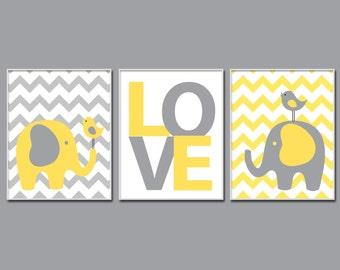 Nursery Yellow and Grey Elephant and Bird Art. Elephant Nursery Art. Baby Boy or Girl Chevron Wall Art. Boys Bedroom Décor - H823
