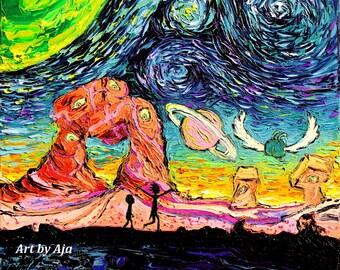 Cartoon Art - Common sizes Starry Night print van Gogh Never Saw Another Dimension by Aja 8x10 9x12 10x13 11x14 16x20 18x23 24x30