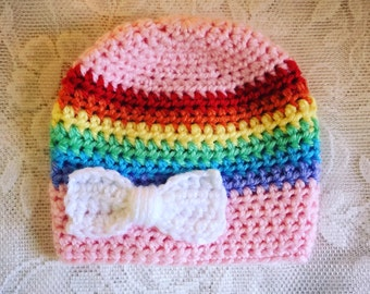Pink Rainbow Hat with White Bow