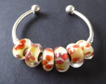 8 yellow and orange Lampwork European beads