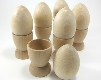 "Large 2.5"" Wooden Eggs with Egg Cups 
