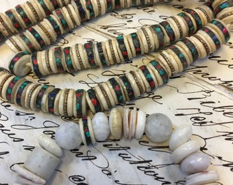 Mosaic bone beads, 10 beads included ,Bone rondelle beads, bone beads, bone rondelles, mosaic beads, bone heishi beads