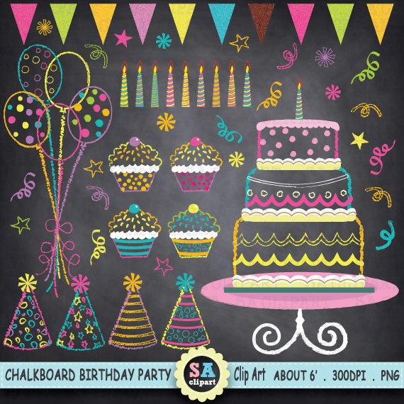 Chalkboard Birthday Party Clip Art Birthday CLIP