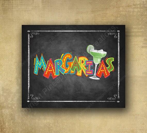 Margaritas Printed Chalkboard sign