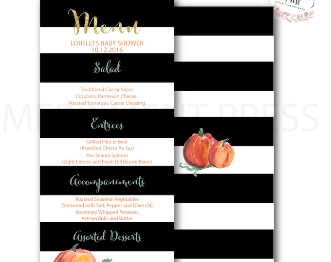 Menu // Pumpkin // Black Stripes// Striped // Baby Shower Menu // Watercolor // Gold Glitter //  NANTUCKET COLLECTION