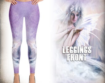 Winter Fairy Queen - Fairy Art - Yoga Pants - Printed Leggings - leggings pattern print- XS, S ,M ,L ,Xl