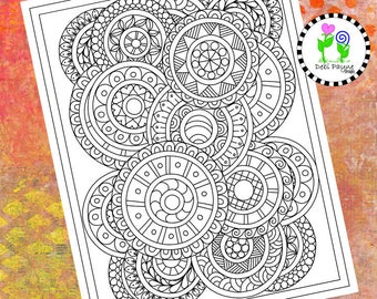 Abstract Doodle Design 10 Instant Download Coloring Page