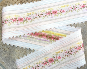 """French Vintage La Petite Fleur Collection Flower Pattern Pink and White 5"""" Ribbon by the Yard"""