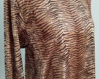 Vintage Tiger Print Long Sleeved Top