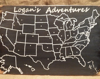 US Wood Map with capitals | Wood Map | Travel Map | Adventure | USA Map with pins | 5th Anniversary | Personalized l US Map