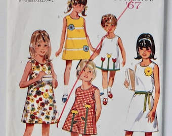 Girls Sewing Pattern Vintage 1960s Girls A Line Simple Shift Dress with Flower Applique Sewing Pattern Size 6 Butterick 3129