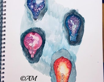 Edison Lightbulbs Watercolor Original Artwork