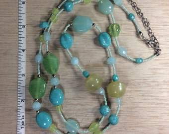 """Vintage 32"""" 3""""Extn Beaded Necklace Blues Greens Used"""