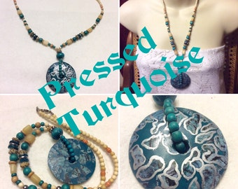 Vintage 1970's pressed turquoise wood stone beaded necklace