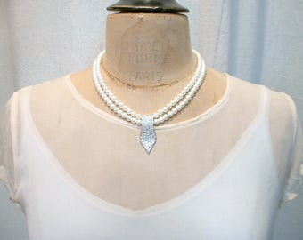 PRISTINE Designer Vintage Art Deco Pearl Bridal Necklace, Two Strand Ivory Pearl & Pave Rhinestone Vintage Wedding Jewelry Statement Carolee
