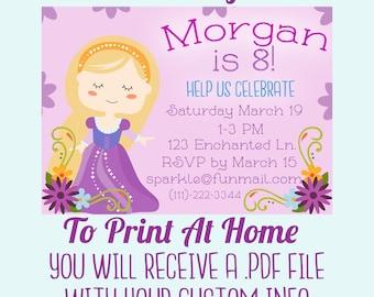 Princess Birthday Party Invitation - Customized Digital File