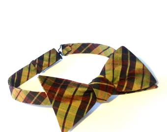 Gold Burgundy Bow Tie, Plaid Bow Tie, Silk Bow Tie, Reversible Bow Tie, Bow Tie, Mens Bow Tie,Mens Accessories, Groom Bow Tie, Gift for Him