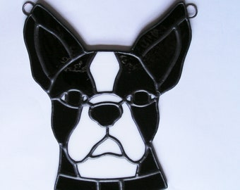 Stained Glass French Bulldog / Boston Terrier, Suncatcher, Handmade in England