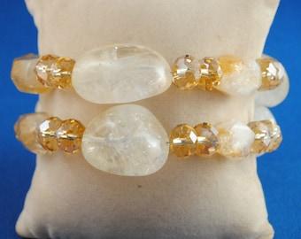Citrine Gemstone and Thunder Polish Crystal Gemstone Jewelry