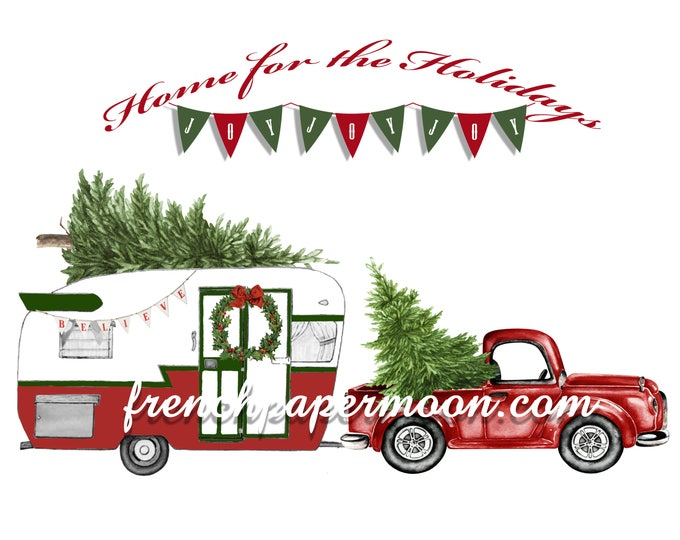 Digital Hand-drawn Christmas Camper, Pickup, Christmas Pillow, Christmas Digital, Fabric Transfer, Large Image, DIY Christmas Crafts