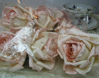 6 Blush Large Parchment Paper Roses Floral Decorations