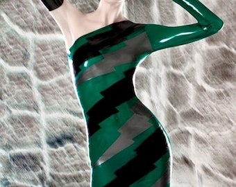 Latex clothing Transparent Lightening bolts dress in Translucent Green black and silver