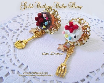 Gold Cutlery Cake Ring