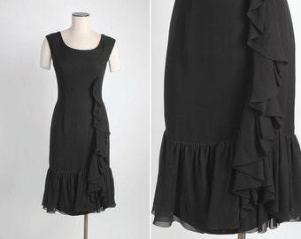 SALE! 1960s vintage Edward Abbott black silk chiffon ruffle dress 5S917