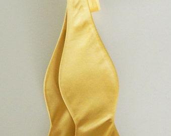 Mens Bowtie Gold Solid Banded Adjustable Neck Self Tie Bow Tie