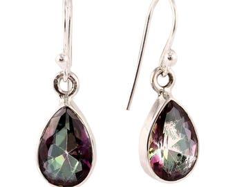 Mystic quartz silver earring